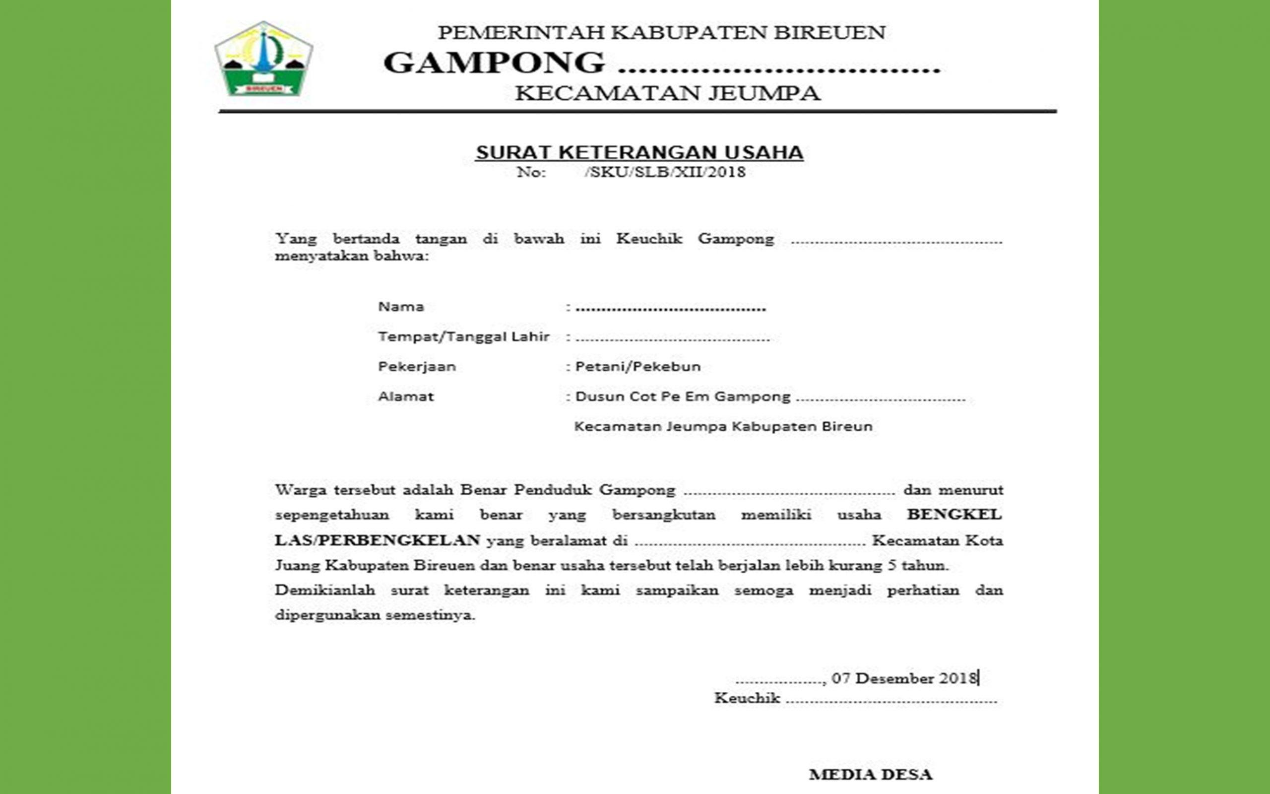 Contoh Surat Keterangan Usaha Media Desa