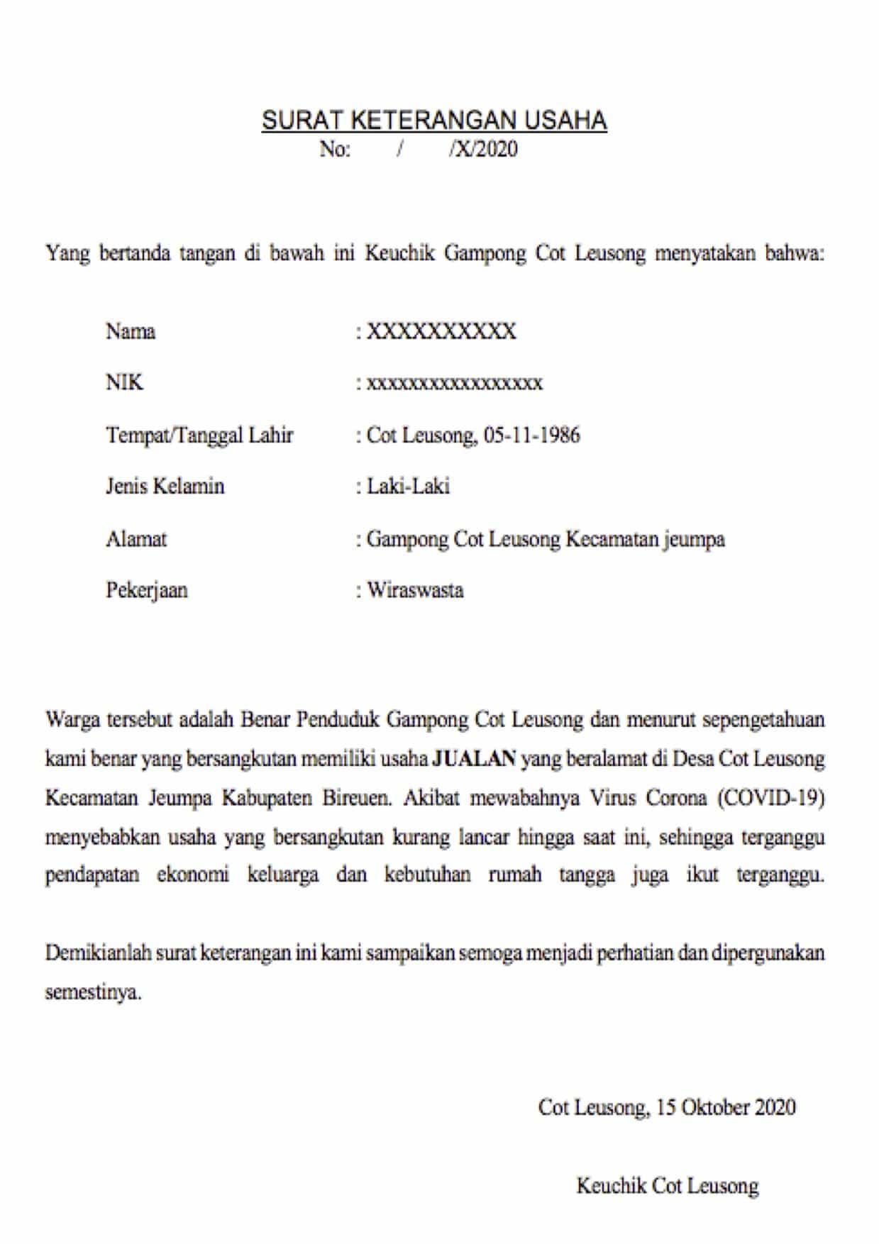 Contoh Surat Keterangan Usaha untuk UKM / UMKM / BPUM ...
