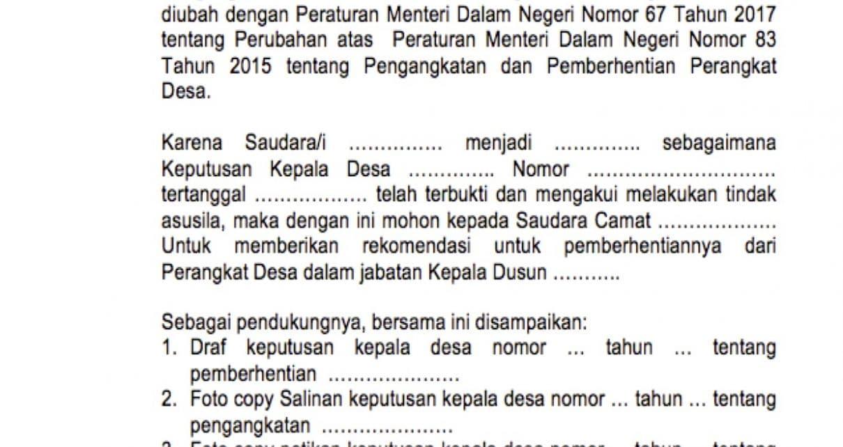 Contoh Surat Pemberhentian Perangkat Desa Terbaru Media Desa