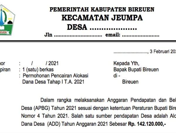 Contoh Surat Permohonan Pencairan ADD